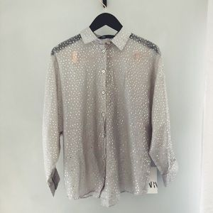 BRAND NEW! Button front metallic blouse ZARA XS